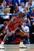 Michael Jordan of the Chicago Bulls defends against the Portland Trailblazers at the Veterans Memorial Coliseum circa 1993 in Portland Oregon NOTE TO...