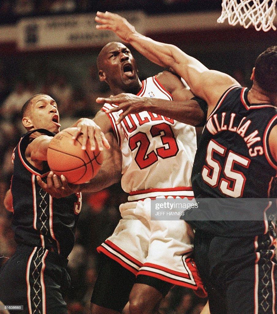 Michael Jordan C of the Chicago Bulls drives to