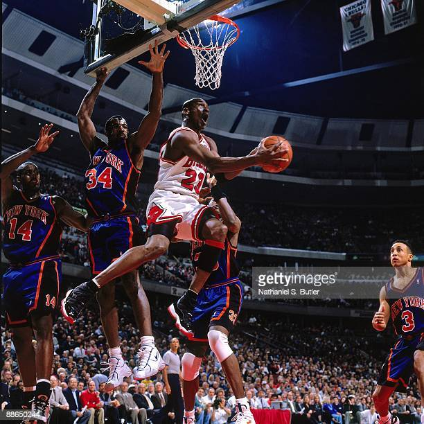 Michael Jordan of the Chicago Bulls goes up for a shot against the New York Knicks in Game Five of the Eastern Conference Semifinals during the 1996...