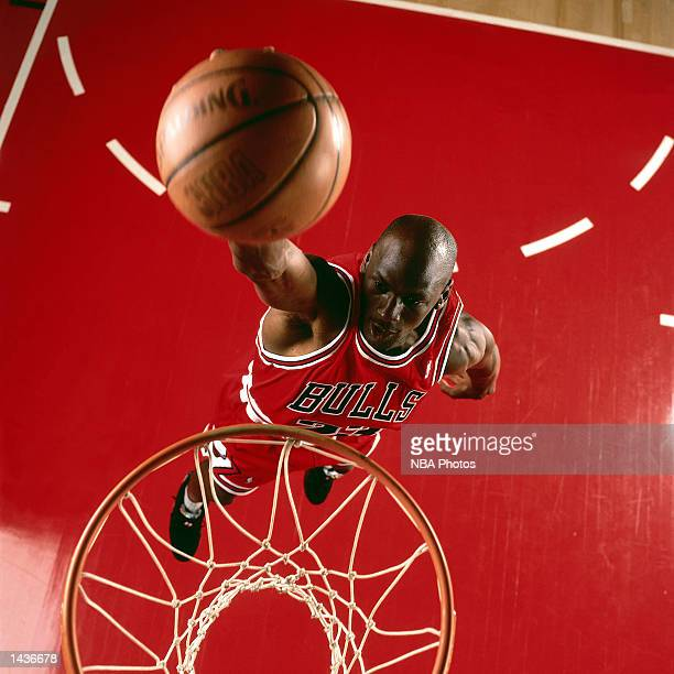 Michael Jordan of the Chicago Bulls goes up for a slam dunk in 1995 during an NBA game NOTE TO USER User expressly acknowledges and agrees that by...