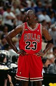 Michael Jordan of the Chicago Bulls looks to the sideline in Game One of the 1998 NBA Finals at the Delta Center on June 3 1998 in Salt Lake City...