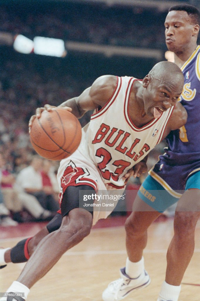 Michael Jordan #23 of the Chicago Bulls of the Eastern Conference during game 1 of the National Basketball Association Finals game against the Los Angeles Lakers of the Western Conference on 2 June 1991 at the Chicago Stadium, Chicago, Illinois, United States. Visions of Sport.