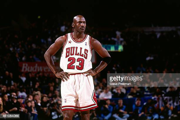 Michael Jordan of the Chicago Bulls stands during the 1998 NBA AllStar Game played on February 8 1998 at Madison Square Garden in New York City NOTE...