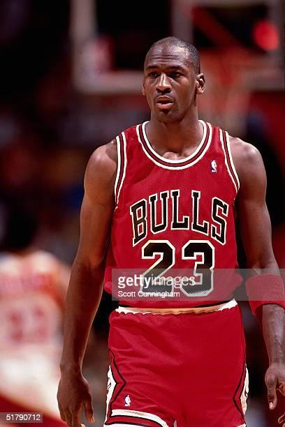 Michael Jordan of the Chicago Bulls takes a break against the Atlanta Hawks during an NBA game circa 1989 at the Omni in Atlanta Georgia NOTE TO USER...