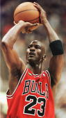 Michael Jordan of the Chicago Bulls takes a shot against the Utah Jazz 14 June during game six of the NBA Finals at the Delta Center in Salt Lake...