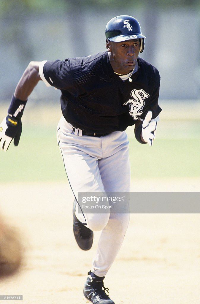 Michael Jordan of the Chicago White Sox runs the bases during spring training.
