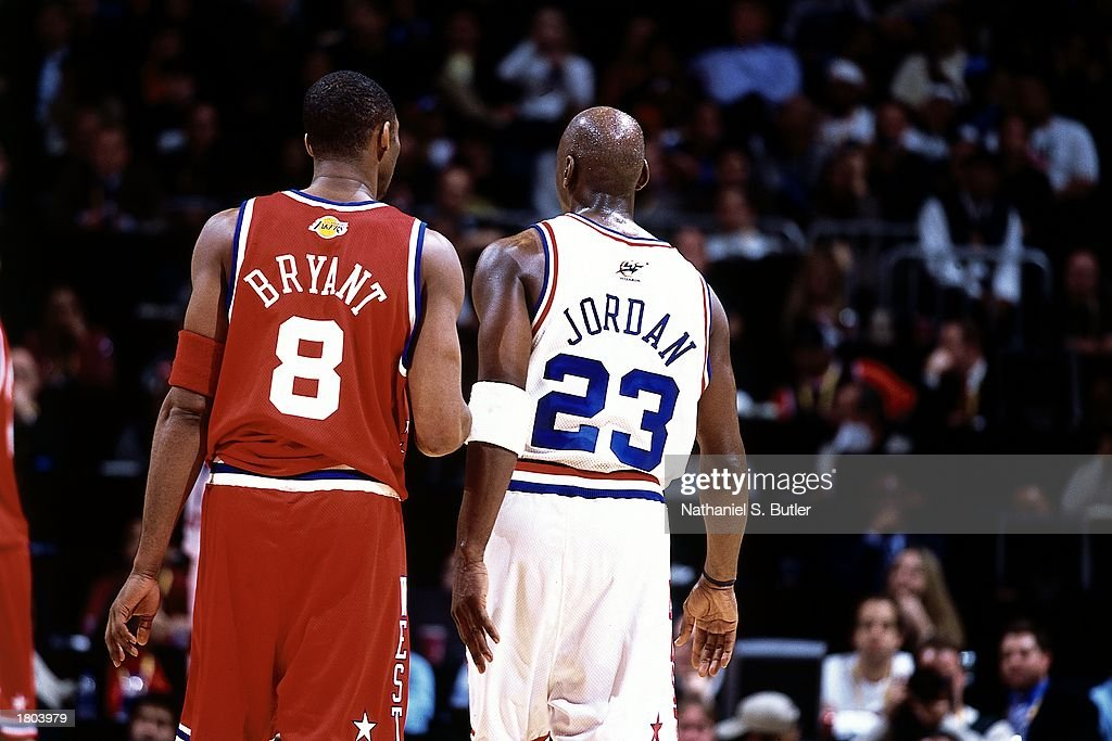 Michael Jordan of the Eastern Conference AllStars positions against Kobe Bryant of the Western Conference AllStars during the 52nd NBA AllStar Game...