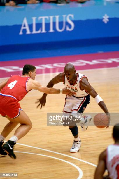 Michael Jordan of the United States is covered by Drazen Petrovic of Croatia in the 1992 Olympic game on August 8 1992 in Barcelona Spain The 'Dream...