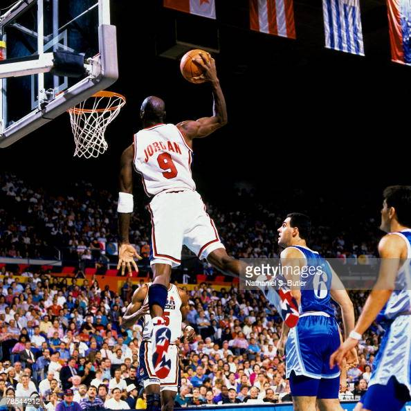 Michael Jordan of the United States National Team soars for a dunk during the 1992 Olympics in Barcelona Spain NOTE TO USER User expressly...
