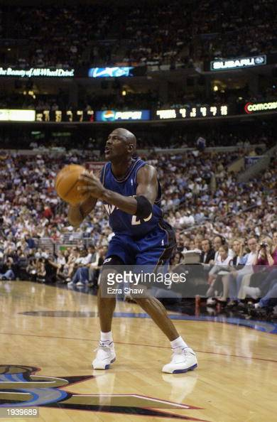 Michael Jordan of the Washington Wizards looks to shoot during the final NBA game of his career played against the Philadelphia 76ers at First Union...