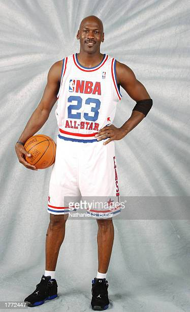 Michael Jordan of the Washington Wizards poses for portraits for the NBA AllStar Game on February 9 2003 at the Georgia Philips Arena in Atlanta...