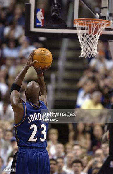 Michael Jordan of the Washington Wizards shoots a free throw during the final NBA game of his career played against the Philadelphia 76ers at First...