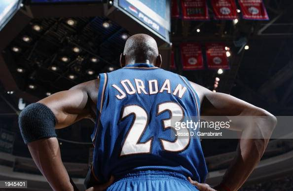 Michael Jordan of the Washington Wizards waits to play in the last game of his career which happened to be against the Philadelphia 76ers at First...