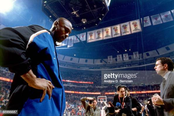 Michael Jordan of the Washington Wizards walks onto the court for the first time as a Wizard against the Chicago Bulls prior their NBA game on...