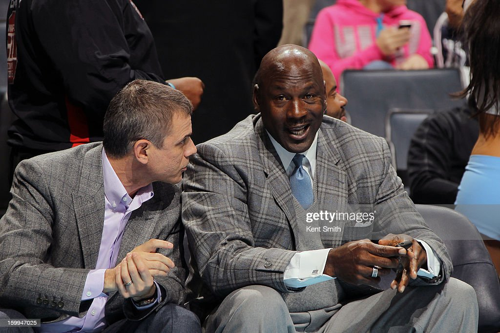 Michael Jordan, owner of the Charlotte Bobcats during the game against the Atlanta Hawks at the Time Warner Cable Arena on January 23, 2013 in Charlotte, North Carolina.