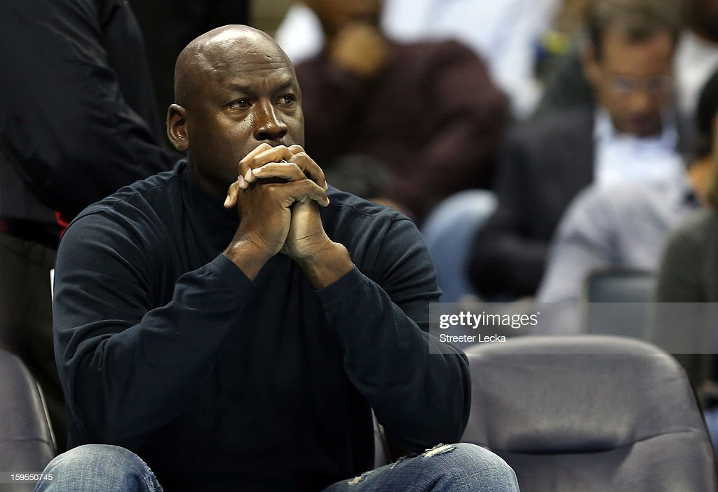 Michael Jordan, owner of the Charlotte Bobcats watches on during their game against the Indiana Pacers at Time Warner Cable Arena on January 15, 2013 in Charlotte, North Carolina.