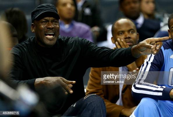 Michael Jordan owner of the Charlotte Bobcats yells at a referee after a call during their game against the Brooklyn Nets at Time Warner Cable Arena...