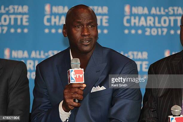 Michael Jordan owner of the Charlotte Hornets announces the 2017 AllStar game at the Time Warner Cable Arena on June 23 2015 in Charlotte North...