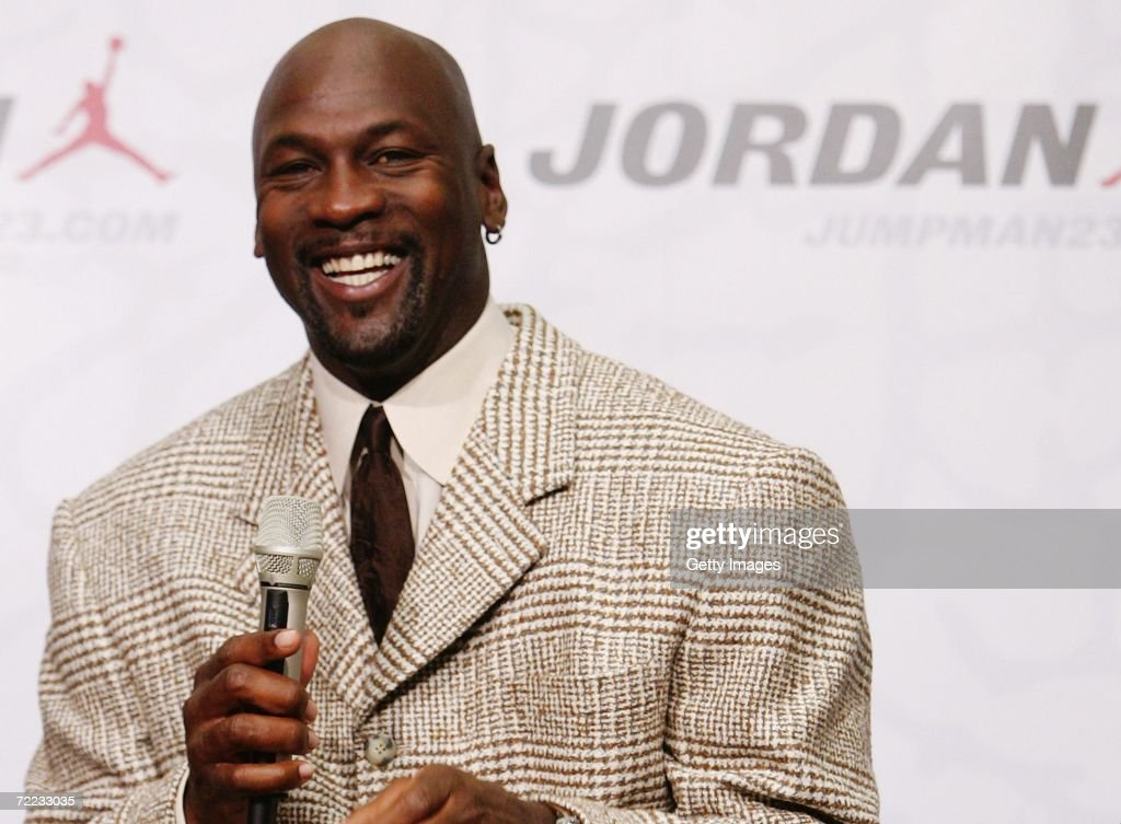 <a gi-track='captionPersonalityLinkClicked' href=/galleries/search?phrase=Michael+Jordan+-+Basketball+Player&family=editorial&specificpeople=73625 ng-click='$event.stopPropagation()'>Michael Jordan</a> smiles at Nike Town Berlin October 21, 2006 in Berlin, Germany. The store presents the new <a gi-track='captionPersonalityLinkClicked' href=/galleries/search?phrase=Michael+Jordan+-+Basketball+Player&family=editorial&specificpeople=73625 ng-click='$event.stopPropagation()'>Michael Jordan</a> lifestyle collection.The Basketball legend is in Germany to find the most talented young German player. The MVP (Most Valuable Player) celebration will be held in Berlin on October, 21 at the Horst Korber Zentrum.