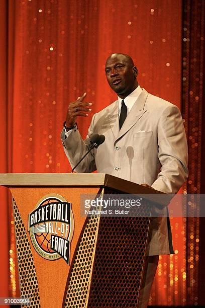 Michael Jordan speaks during the Basketball Hall of Fame Class of 2009 Induction Ceremony at the Symphony Hall on September 11 2009 in Springfield...