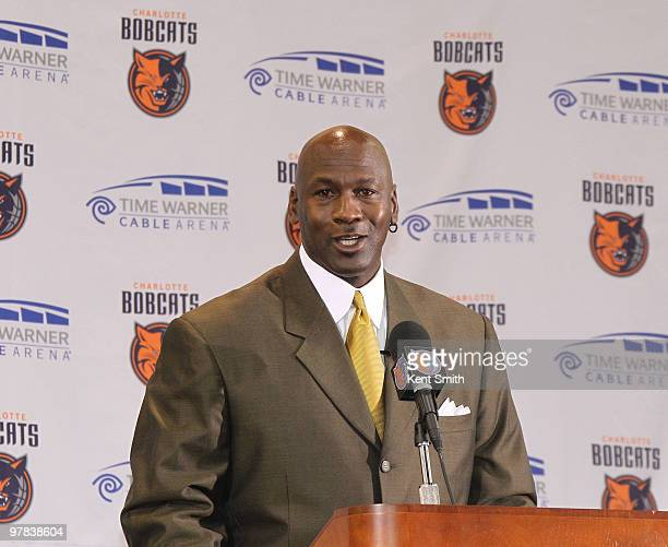 Michael Jordan talks to the media about his becoming the majority owner of the Charlotte Bobcats at the Time Warner Cable Arena March 18 2010 in...
