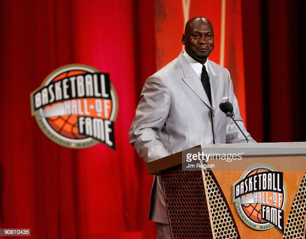 Michael Jordan to the Naismith Memorial Basketball Hall of Fame speaks during an induction ceremony on September 11 2009 in Springfield Massachusetts...