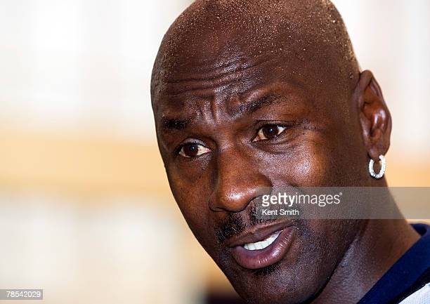 Michael Jordan works out with the Charlotte Bobcats on December 18 2007 at the Charlotte Bobcats Arena in Charlotte North Carolina NOTE TO USER User...