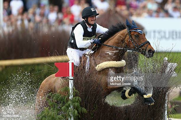 Michael Jung of Germany riding La BiosthetiqueSam FBW during the crosscountry test on day four of the Badminton Horse Trials on May 7 2016 in...