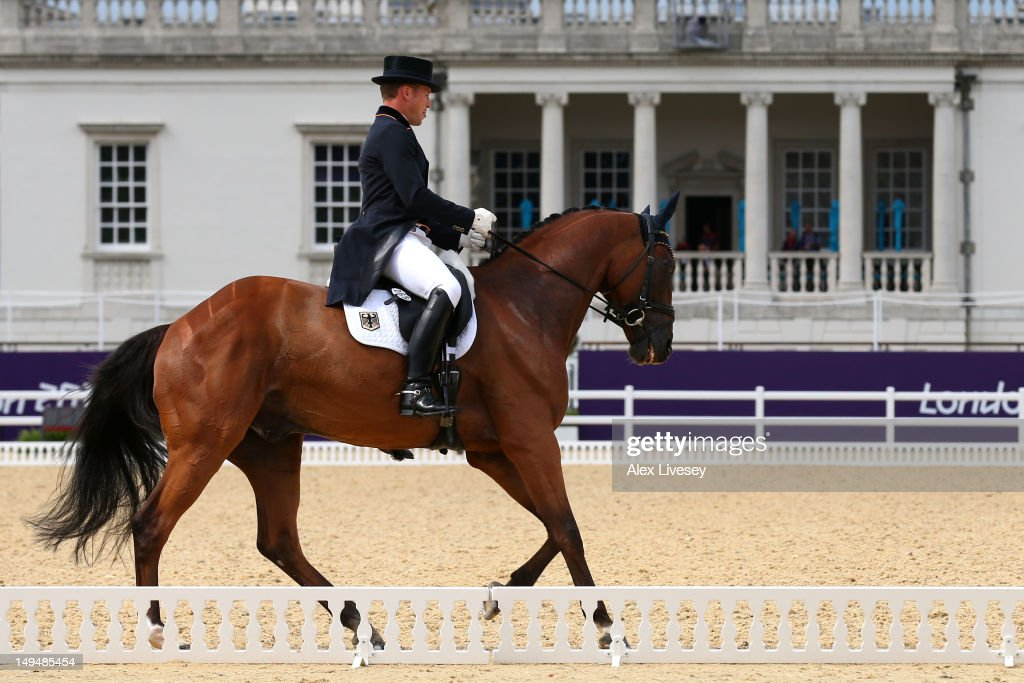 Michael Jung of Germany riding Sam competes in the Dressage Equestrian event on Day 2 of the London 2012 Olympic Games at Greenwich Park on July 29, 2012 in London, England.