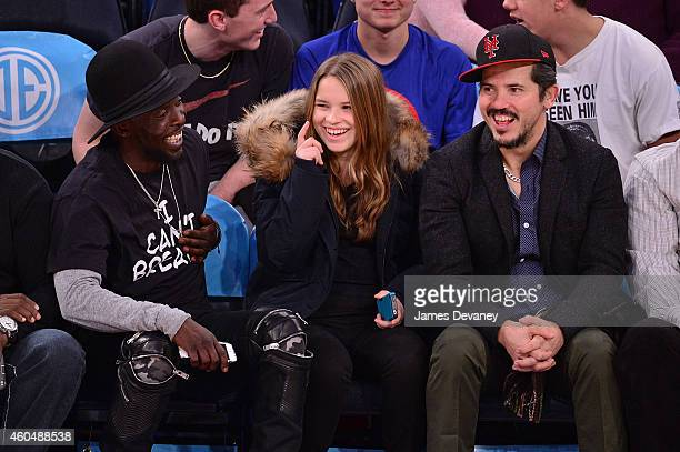 Michael K Williams Allegra Leguizamo and John Leguizamo attend New York Knicks vs Toronto Raptors game at Madison Square Garden on December 14 2014...