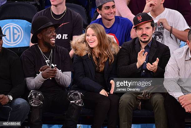 Michael K Williams Allegra Leguizamo and John Leguizamo attend New York Knicks vs Toronto Raptors game at Madison Square Garden on December 14 2014...