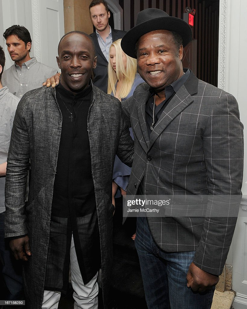 <a gi-track='captionPersonalityLinkClicked' href=/galleries/search?phrase=Michael+K.+Williams&family=editorial&specificpeople=855658 ng-click='$event.stopPropagation()'>Michael K. Williams</a> and Isiah Whitlock, Jr. attend the after party for The Cinema Society with FIJI Water & Levi's screening of 'Mud' at Harlow on April 21, 2013 in New York City.