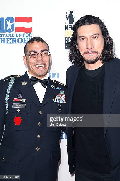 Michael Kacer and Adam Driver attend the New York Comedy Festival and the Bob Woodruff Foundation Present the 10th Annual Stand Up for Heroes Event...