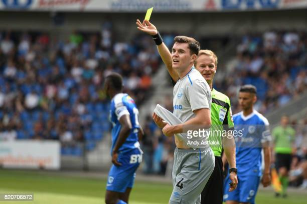 Michael Keane from Everton receives a yellow card during the PreSeason Friendly between KRC Genk and Everton at Cristal Arena on July 22 2017 in Genk...