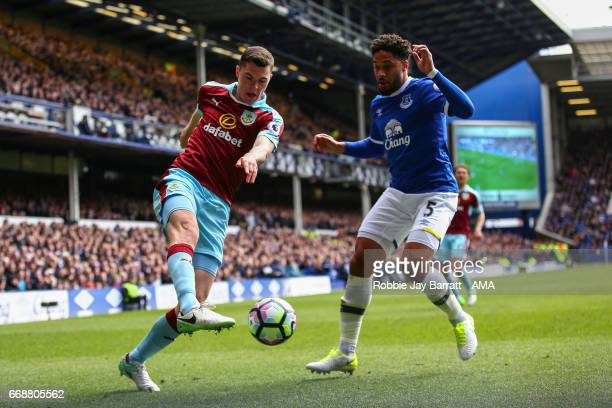 Michael Keane of Burnley and Ashley Williams of Everton during the Premier League match between Everton and Burnley at Goodison Park on April 15 2017...