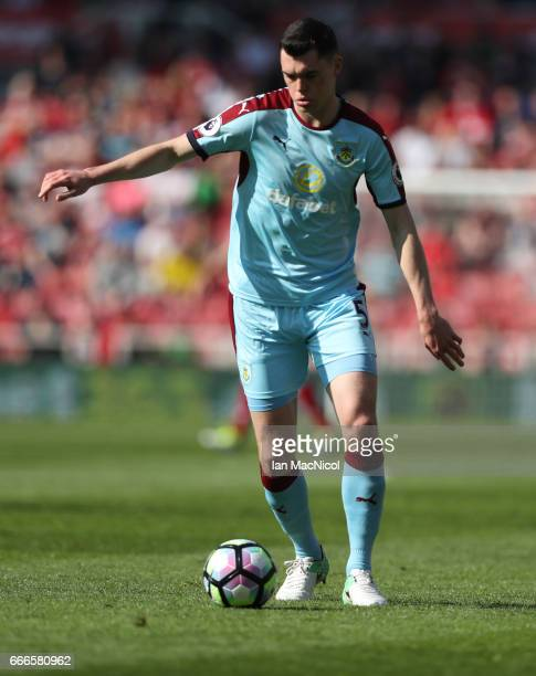 Michael Keane of Burnley controls the ball during the Premier League match between Middlesbrough and Burnley at Riverside Stadium on April 8 2017 in...