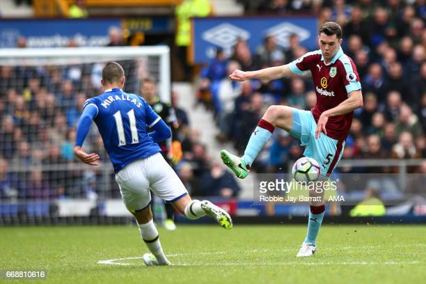 Michael Keane of Burnley during the Premier League match between Everton and Burnley at Goodison Park on April 15 2017 in Liverpool England