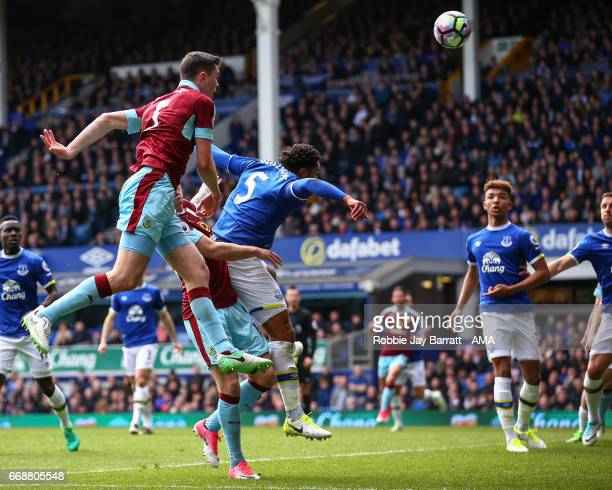 Michael Keane of Burnley goes close with a header during the Premier League match between Everton and Burnley at Goodison Park on April 15 2017 in...