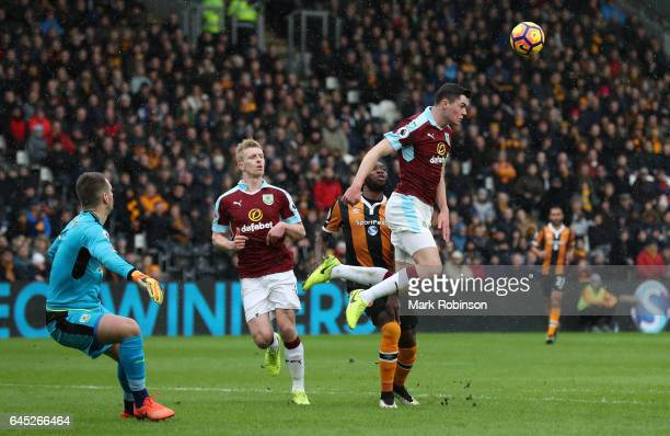 Michael Keane of Burnley heads the ball during the Premier League match between Hull City and Burnley at KCOM Stadium on February 25 2017 in Hull...