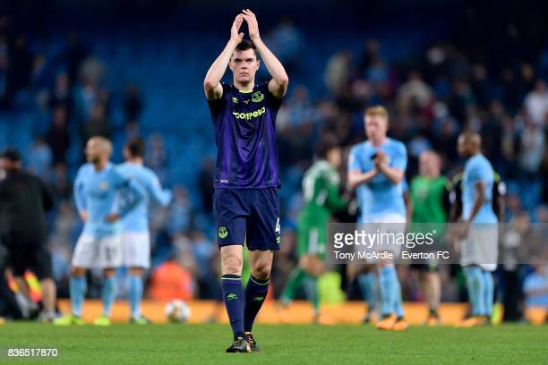 Michael Keane of Everton applauds the travelling fans after the Premier League match between Manchester City and Everton at Etihad Stadium on August...