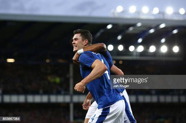 Michael Keane of Everton celebrates his goal during the UEFA Europa League Qualifying PlayOffs round first leg match between Everton FC and Hajduk...