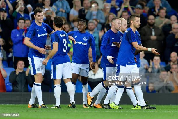 Michael Keane of Everton celebrates his goal with team mates during the UEFA Europa League Qualifying PlayOff match between Everton and Hajduk Split...