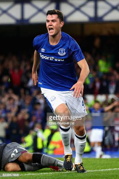 Michael Keane of Everton celebrates scoring the opening goal during the UEFA Europa League Qualifying PlayOffs round first leg match between Everton...