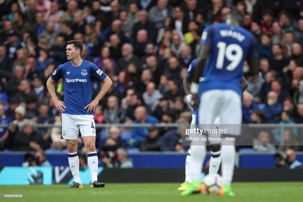 Michael Keane of Everton dejected after conceding during the Premier League match between Everton and Burnley at Goodison Park on October 1, 2017 in Liverpool, England.