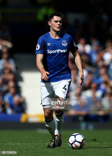 Michael Keane of Everton during the Premier League match between Everton and Stoke City at Goodison Park on August 12 2017 in Liverpool England