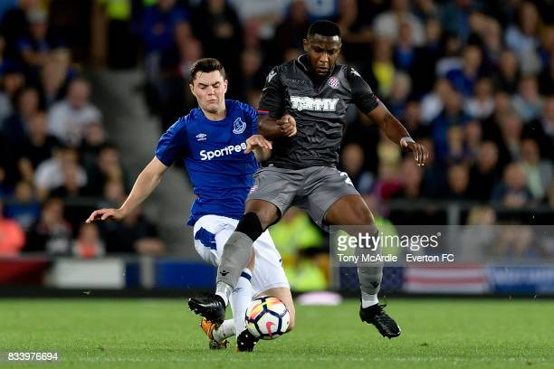 Michael Keane of Everton wins the ball during the UEFA Europa League Qualifying PlayOff match between Everton and Hajduk Split at Goodison Park on...