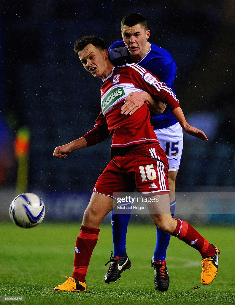 Michael Keane of Leicester battles Josh McEachran of Boro during the Npower Championship between Leicester City and Middlesbrough at The King Power Stadium on January 18, 2013 in Leicester, England.