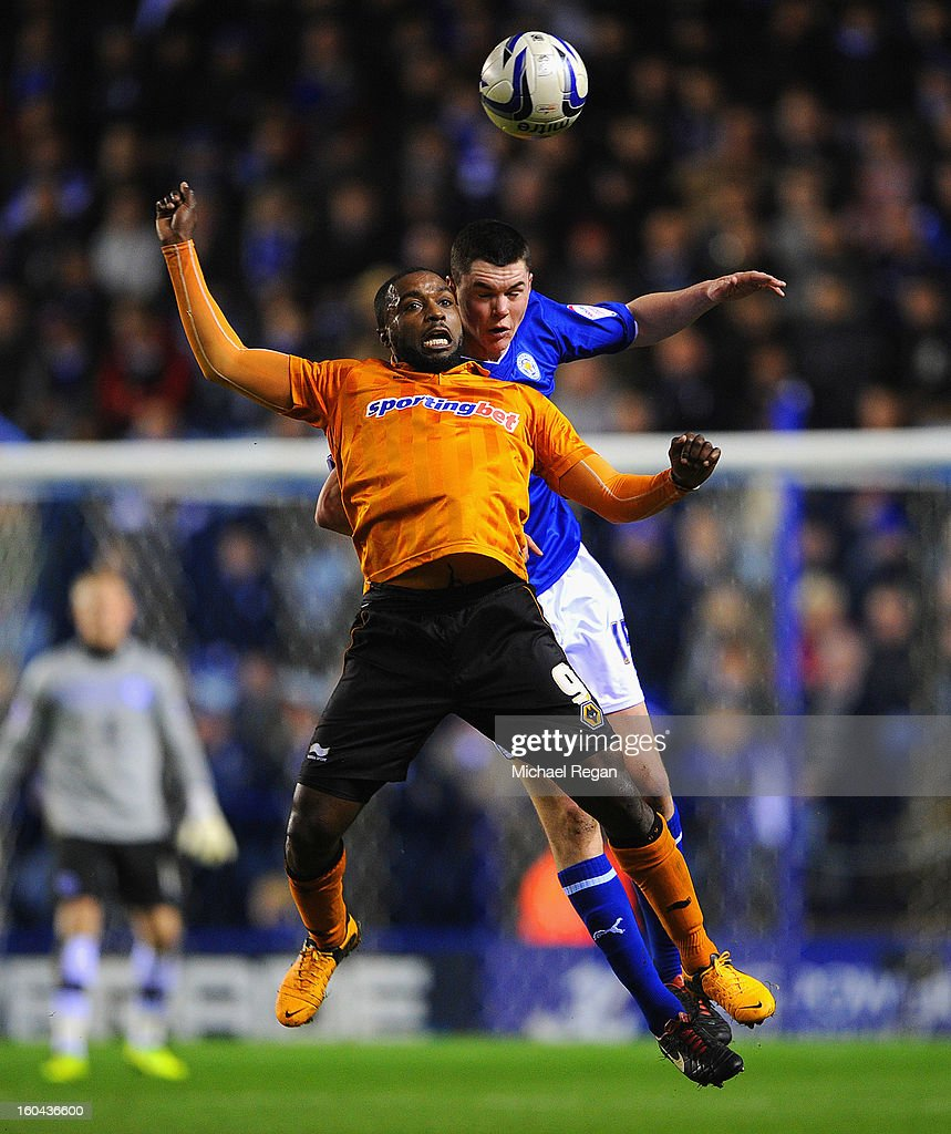 Michael Keane of Leicester in action with <a gi-track='captionPersonalityLinkClicked' href=/galleries/search?phrase=Sylvan+Ebanks-Blake&family=editorial&specificpeople=2192875 ng-click='$event.stopPropagation()'>Sylvan Ebanks-Blake</a>s of Wolves during the npower Championship match between Leicester City and Wolverhampton Wanderers at The King Power Stadium on January 31, 2013 in Leicester, England.