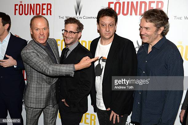 Michael Keaton Aaron Ryder Robert D Siegel and Carter Burwell attend a screening of 'The Founder' hosted by The Weinstein Company and Grey Goose at...