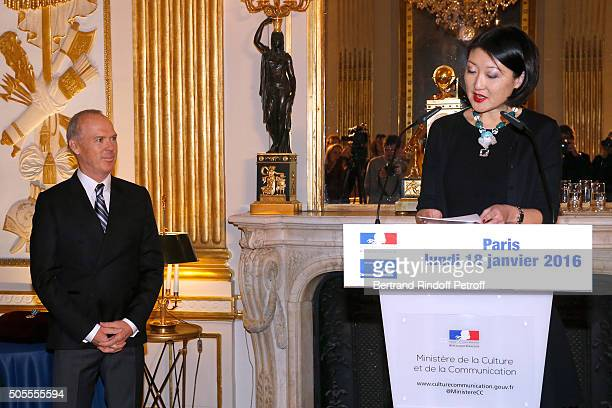 Michael Keaton and French minister of Culture and Communication Fleur Pellerin attend Actor Michael Keaton received the medal of Officer of the Order...